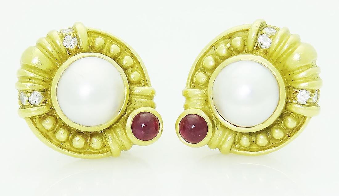 Judith Ripka 18k Diamond Ruby & Pearl Clip Earrings