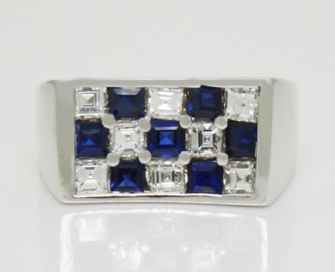 Tiffany & Co 2TCW Diamond & Blue Sapphire Plat Ring