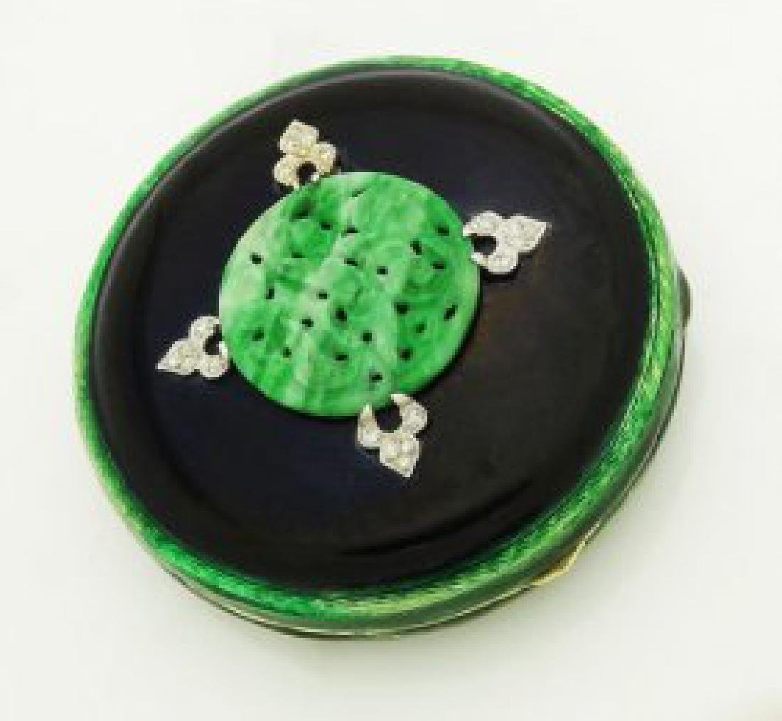 Tiffany & Co. Art Deco Jadiete Jade Dia & Enamel Makeup