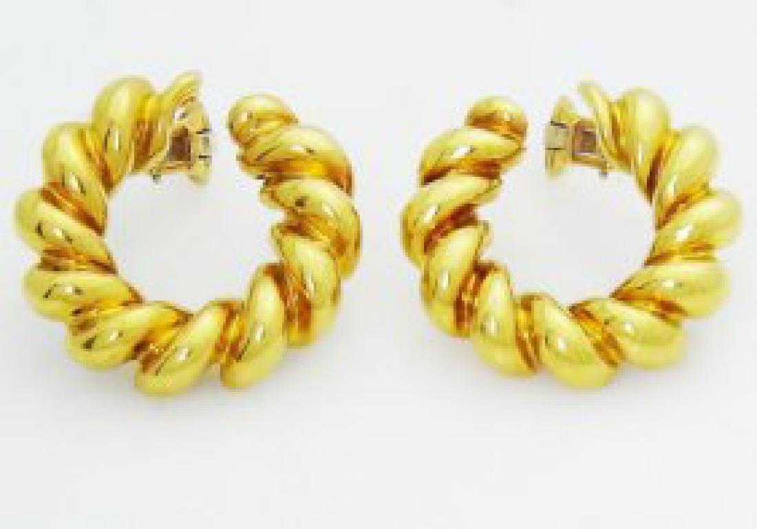Estate Cartier 18k Yellow Gold Clip On Hoop Earrings