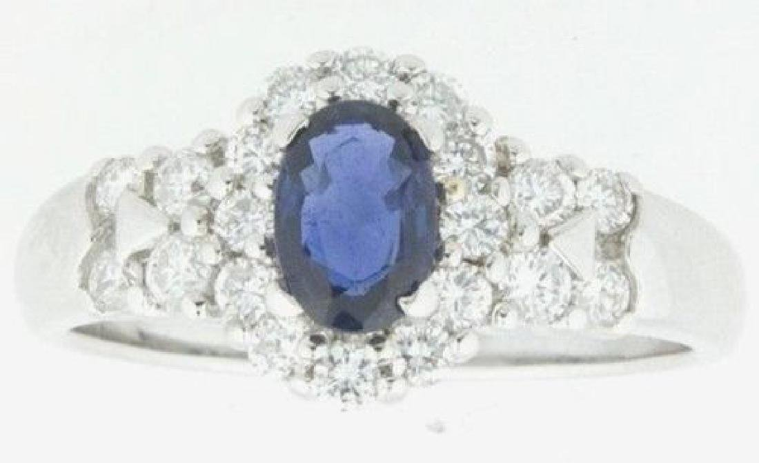 Gorgeous TCW 1.0 18k White Gold Sapphire & Diamonds