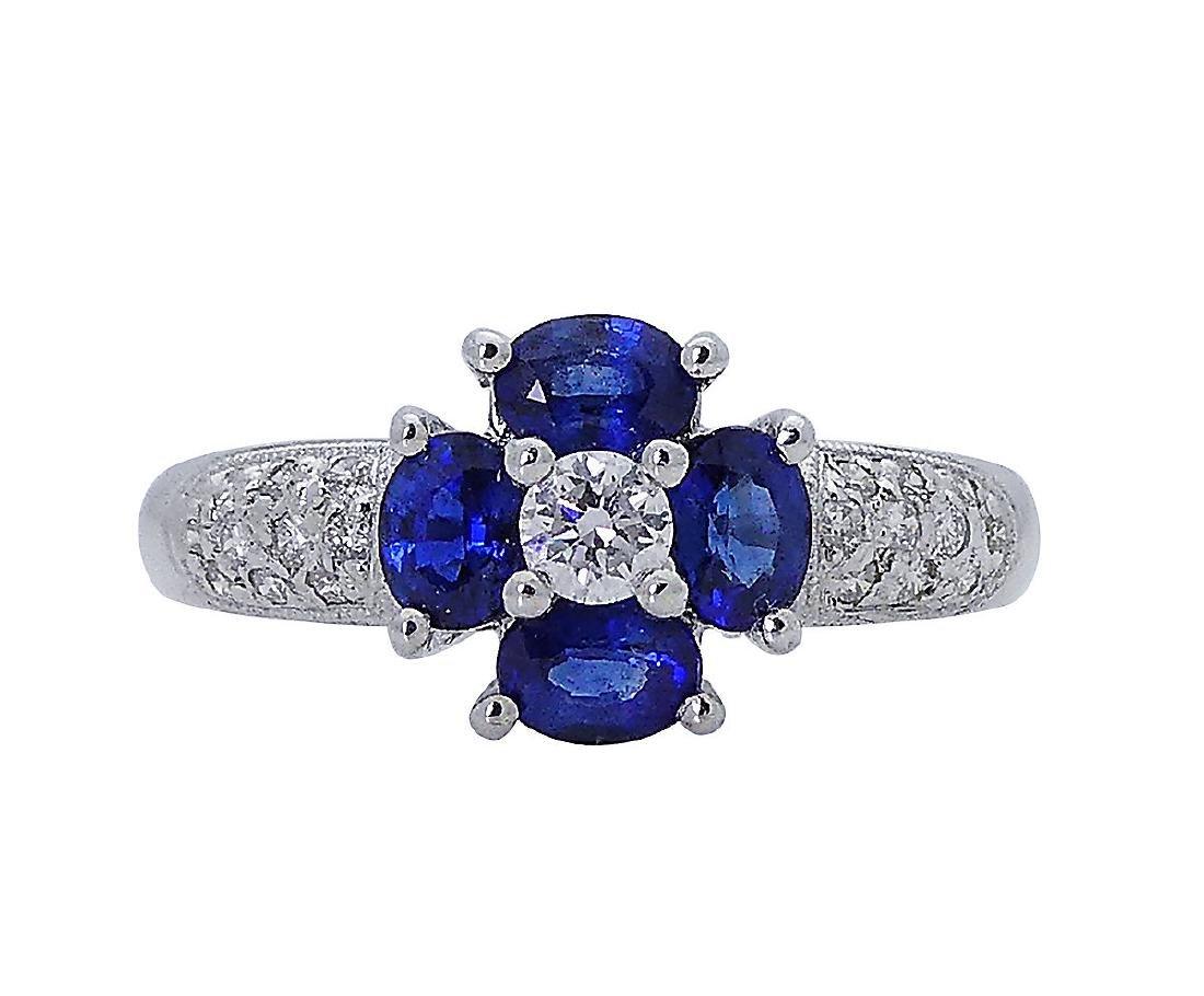 18k White Gold 1.00 TCW Diamond & Sapphire Ring