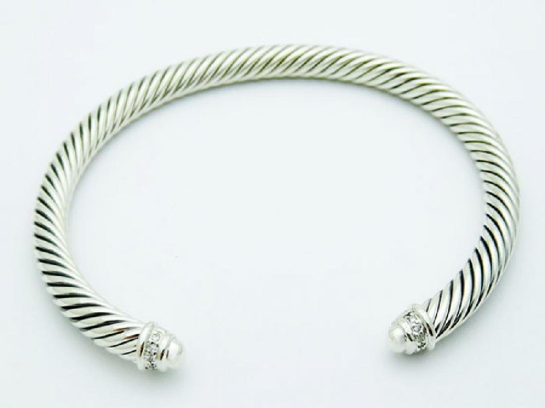 David Yurman 925 Silver Bracelet Pave Diamonds