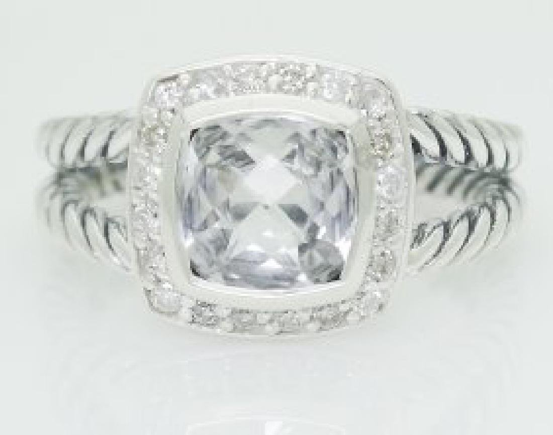 David Yurman 925 Silver White Topaz & Diamond Ring