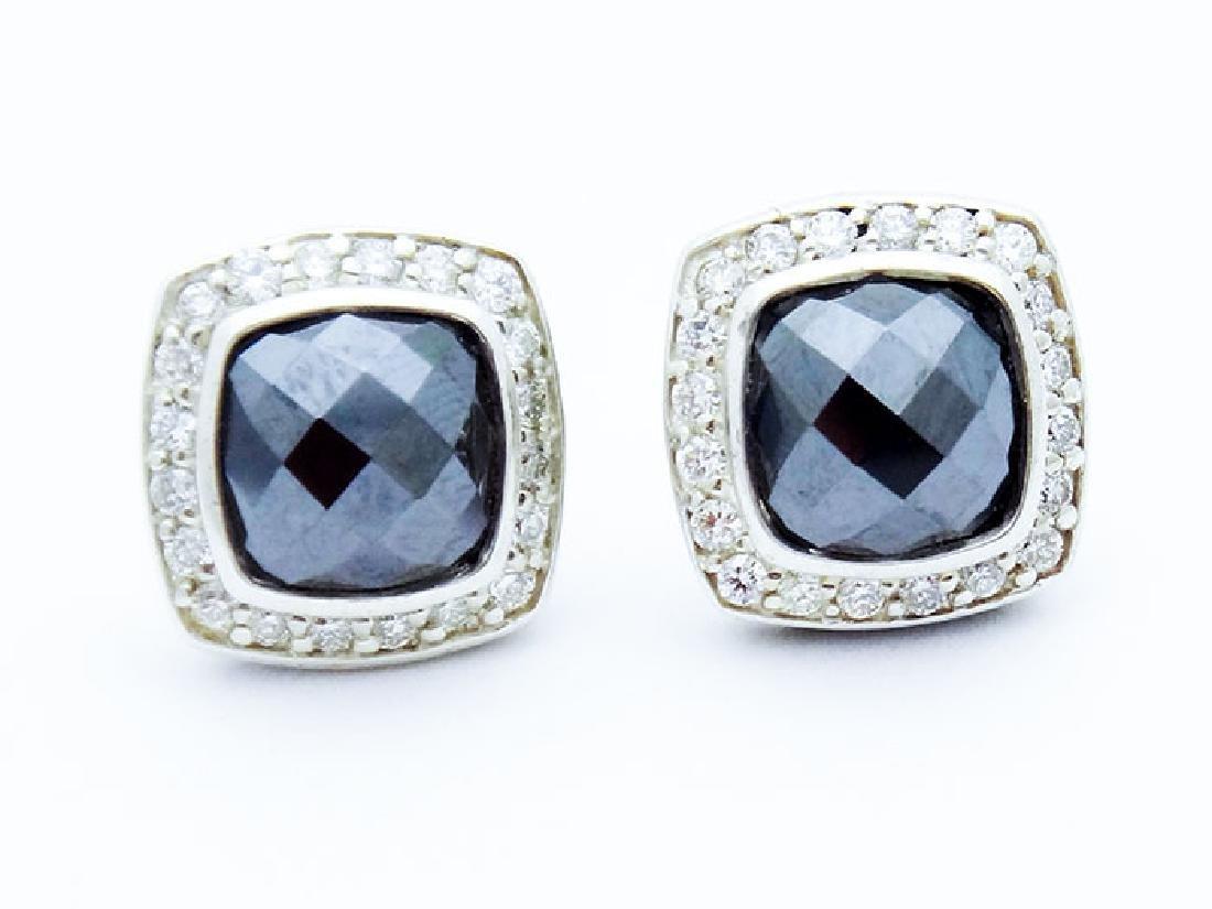 David Yurman Silver Albion Earrings Hematite & Diamonds
