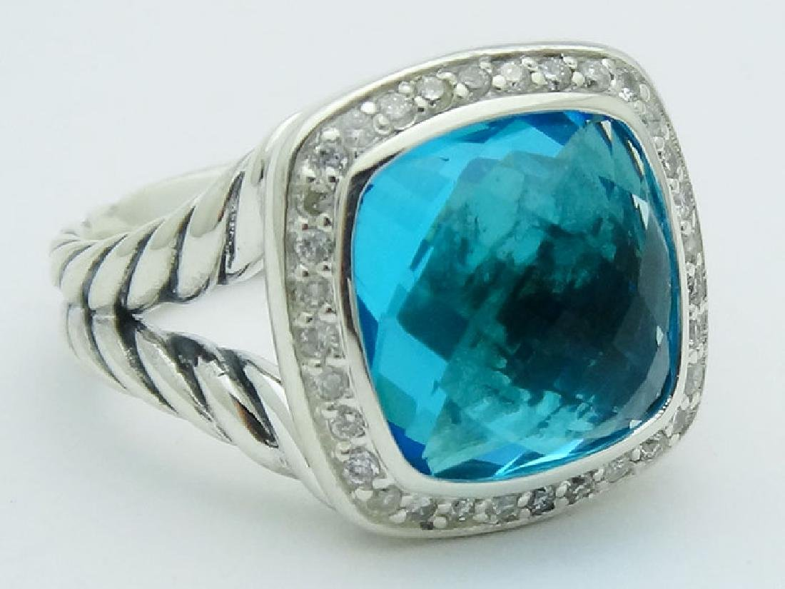 David Yurman Silver Albion Ring Blue Topaz & Diamonds