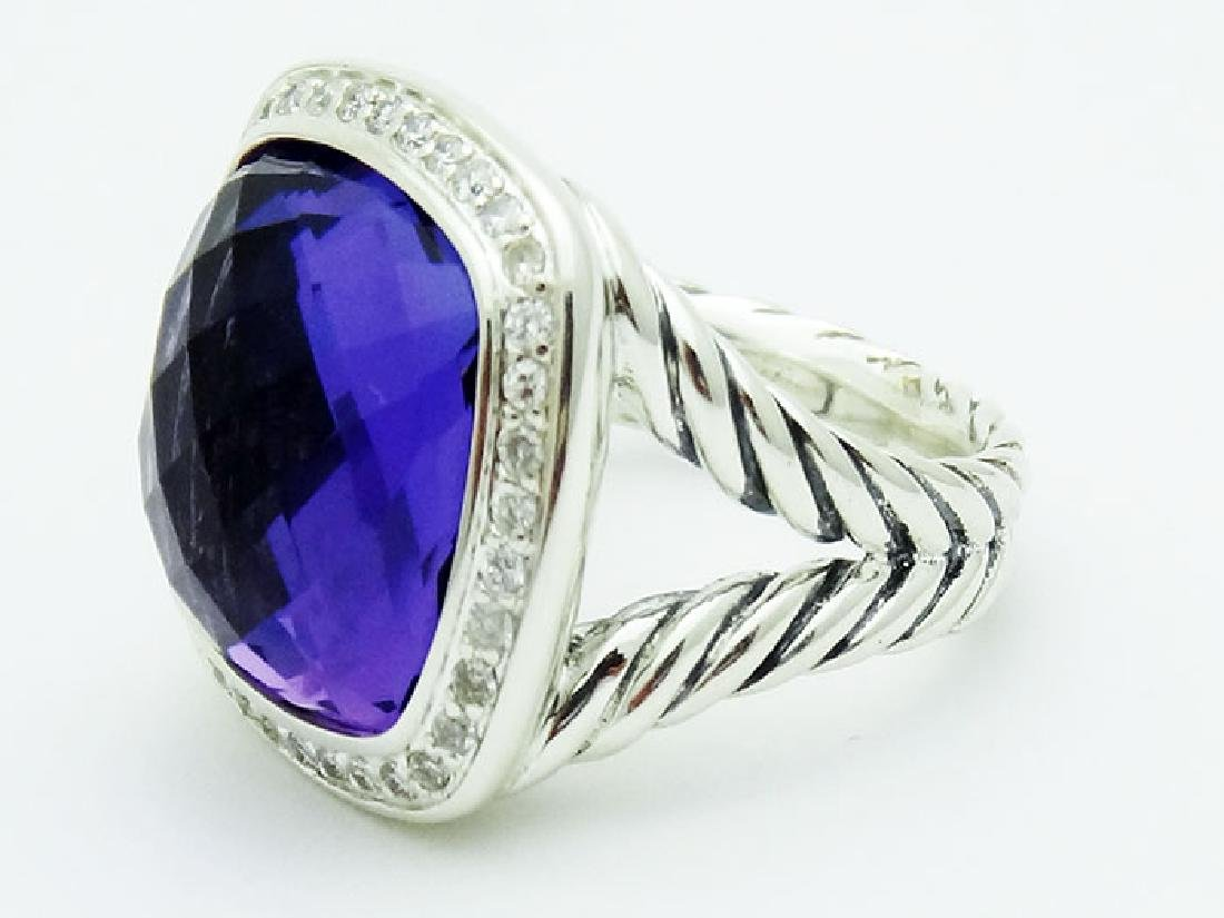 David Yurman Silver Albion Ring Amethyst & Diamonds