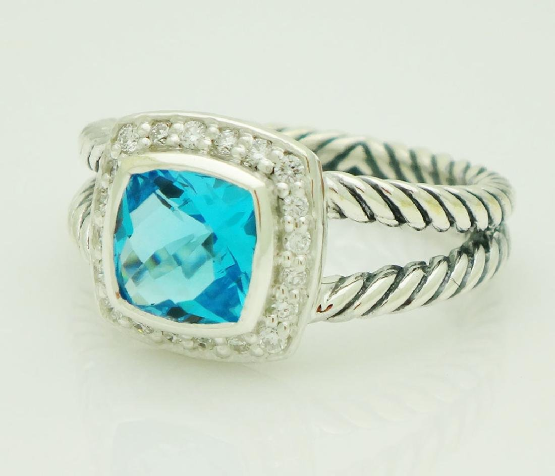 David Yurman Sterling Silver Petite Albion Blue Topaz