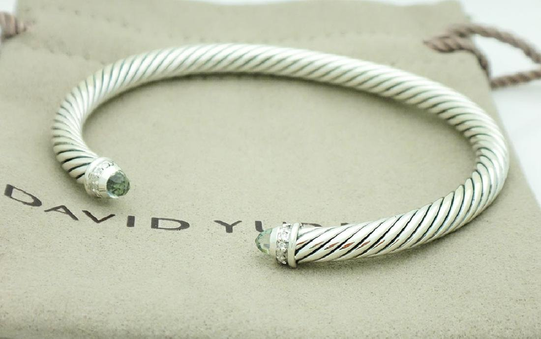 David Yurman Sterling 5mm Prasiolite & Diamonds