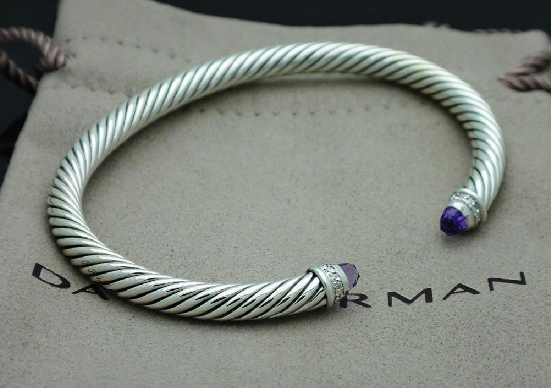 David Yurman Sterling 5mm Amethyst & Diamond Bracelet