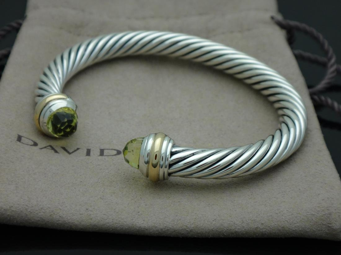 David Yurman Sterling  & 14k Gold 7mm Prasiolite