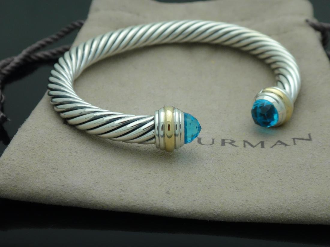 David Yurman Sterling & 14k Gold 7mm Blue Topaz