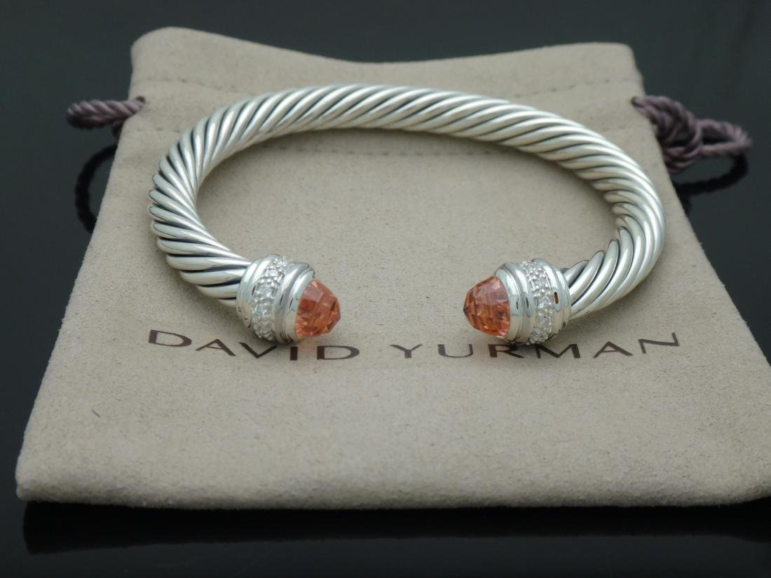 David Yurman Sterling 7mm Morganite & Diamond Bracelet