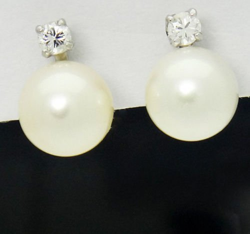 14k White Gold Diamond & Cultured Pearl Stud Earrings