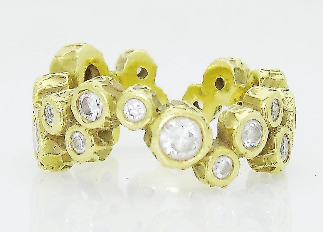 18k Yellow Gold 1.00 TCW Round Cut Diamond Band Ring