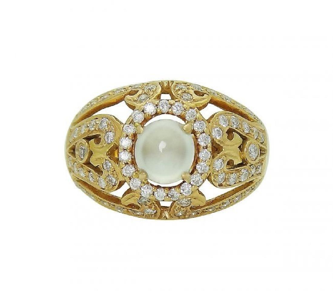 18K Rose Gold Diamond & Moonstone Ring Size 5.75