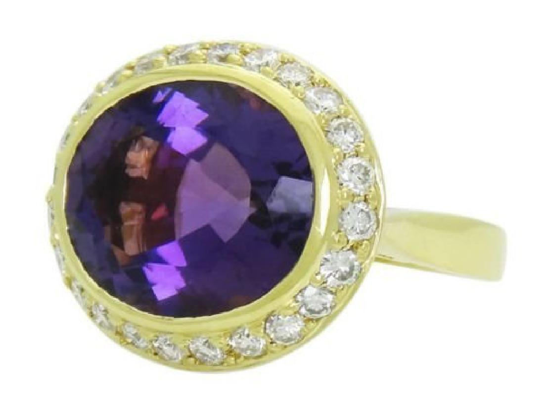 Spark 18k Y Gold Large Faceted Amethyst 1.00 Ct Ring