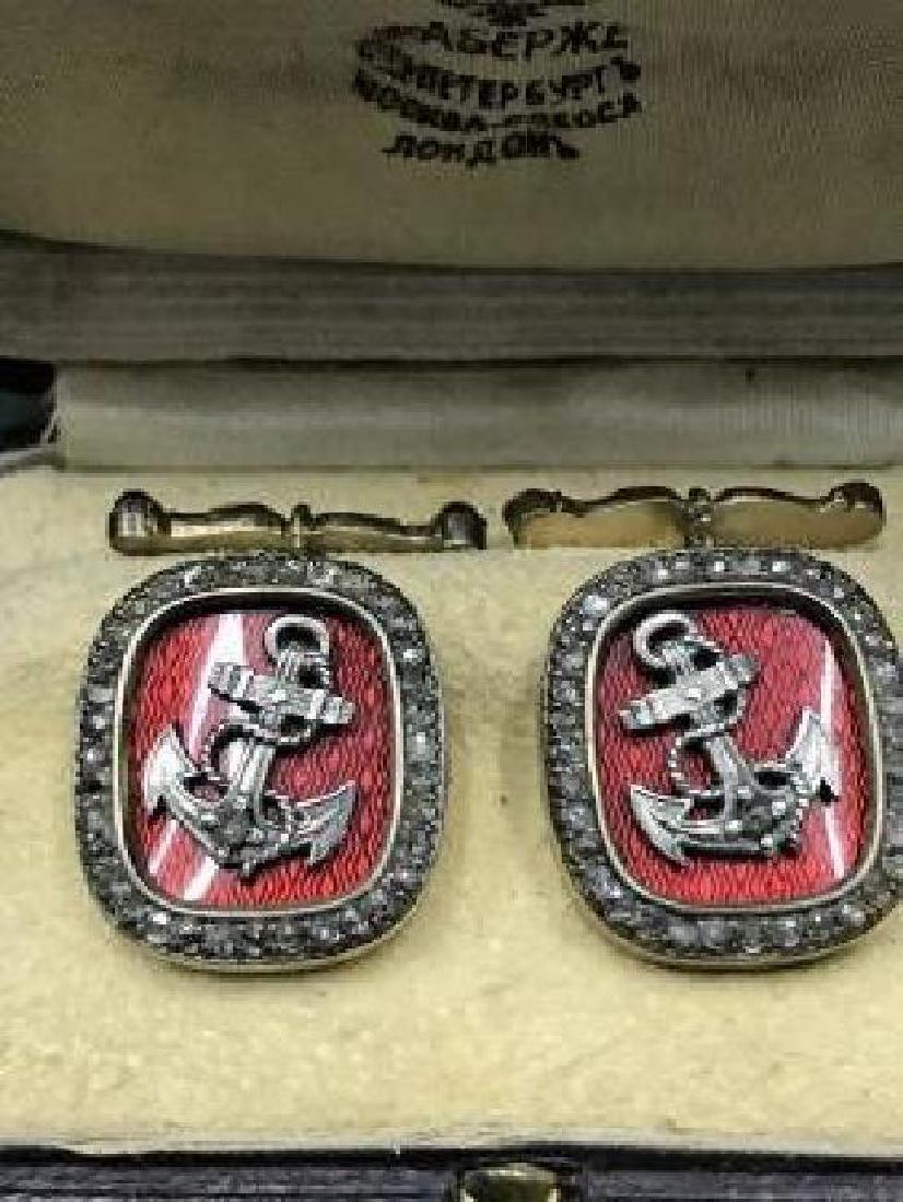 Rare Russian Gold Red Enamel Diamond Cufflinks