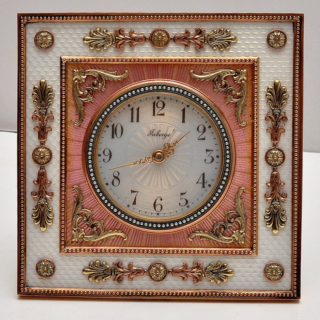 MAGNIFICENT RUSSIAN COLD ENAMEL DIAMOND CLOCK