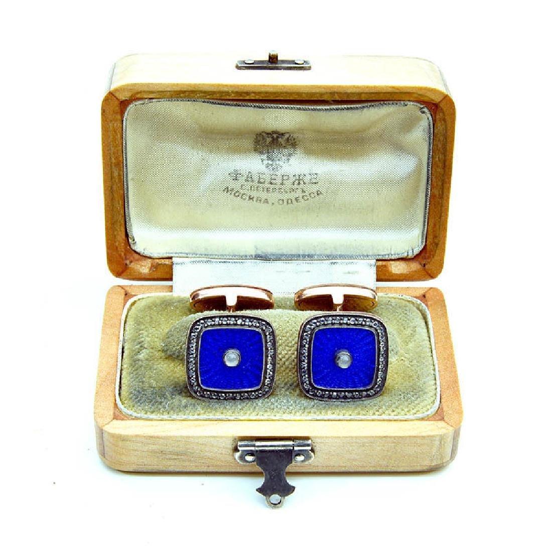 Russian Gold Blue Enamel Diamond Cufflinks