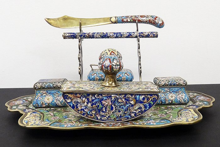 RUSSIAN SILVER ENAMEL IMPORTANT DESK SET