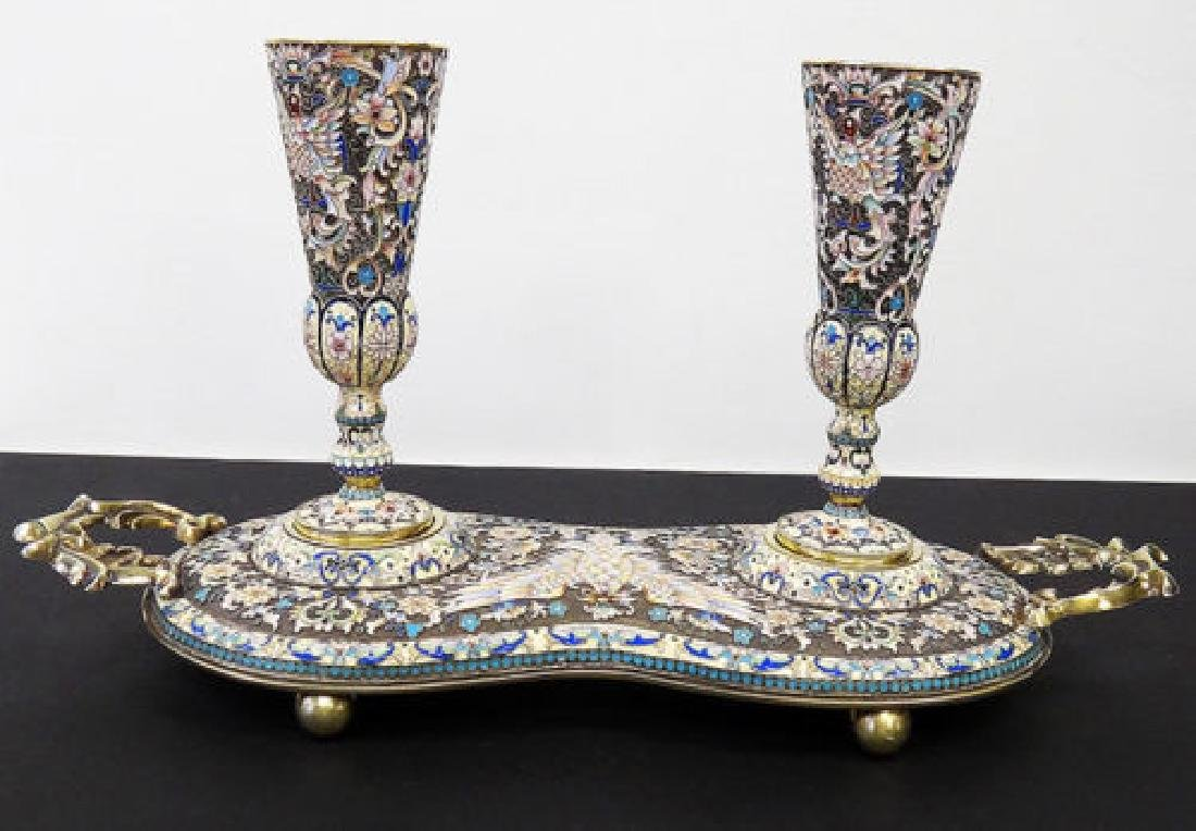RARE RUSSIAN SILVER ENAMEL TRAY W TWO GOBLETS