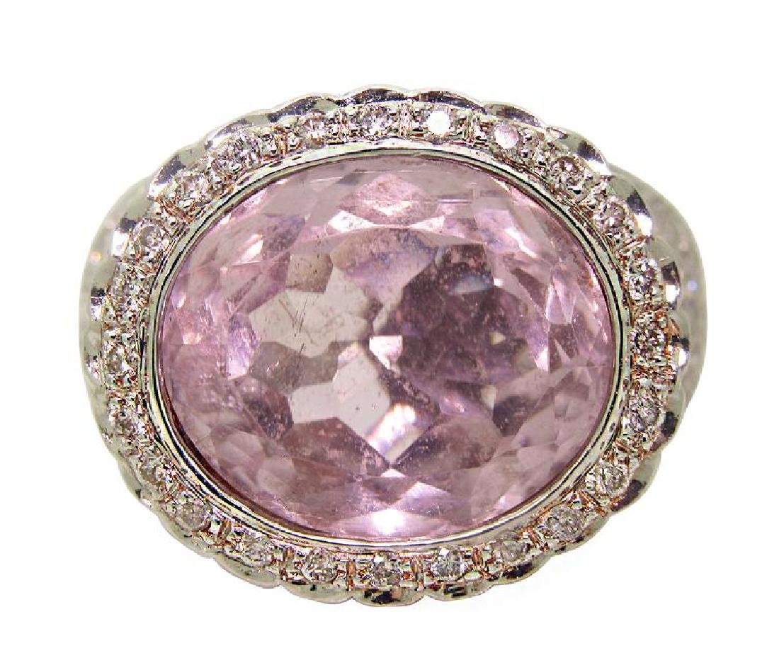 14K Gold 8.30ct Oval Kunzite & 1.50 TCW Diamond Ring