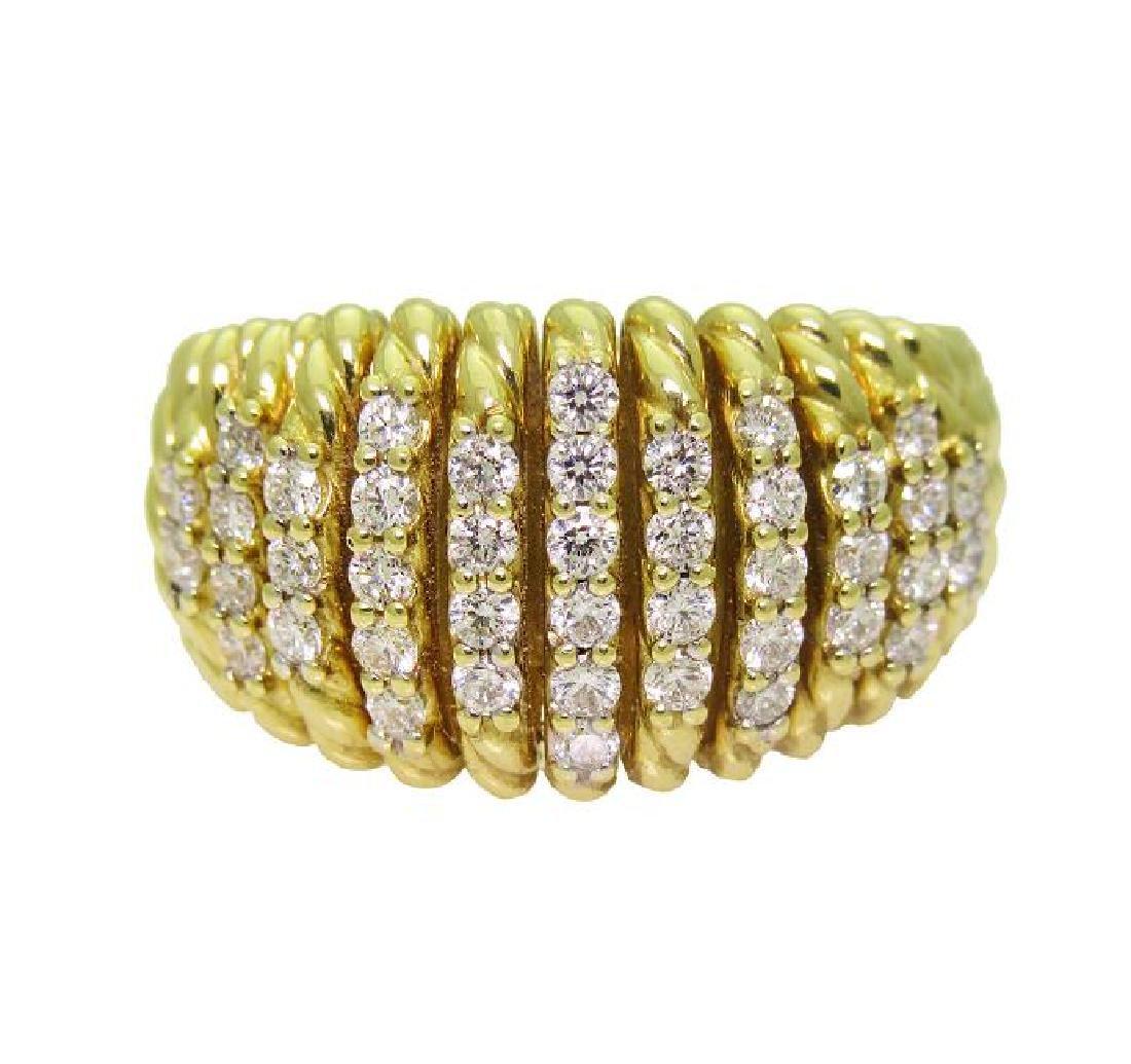 DAVID YURMAN 18k Gold Tempo Diamond Ring SZ-6.75