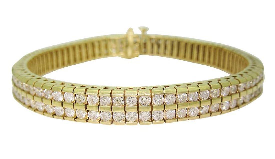 14K Gold & Round Brilliant Diamond Two Row Tennis