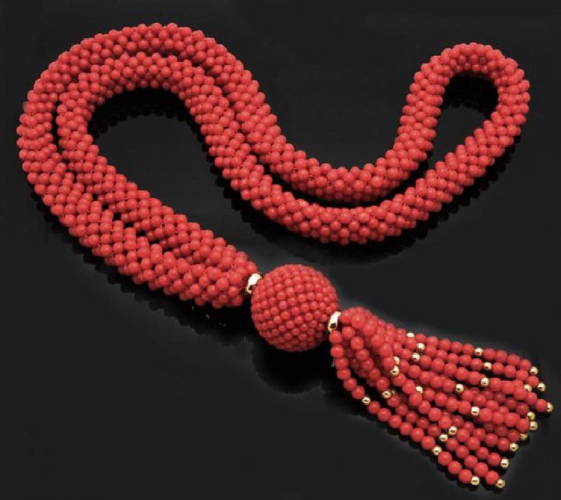 Large Natural Coral Multi Strand Necklace 18K Gold