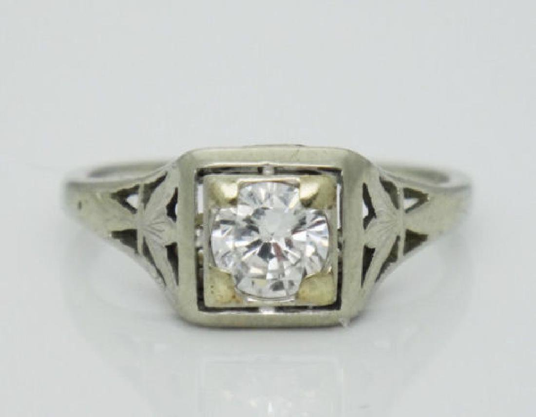 Antique Estate 18k Gold 0.50CT VS2 F Diamond Ring