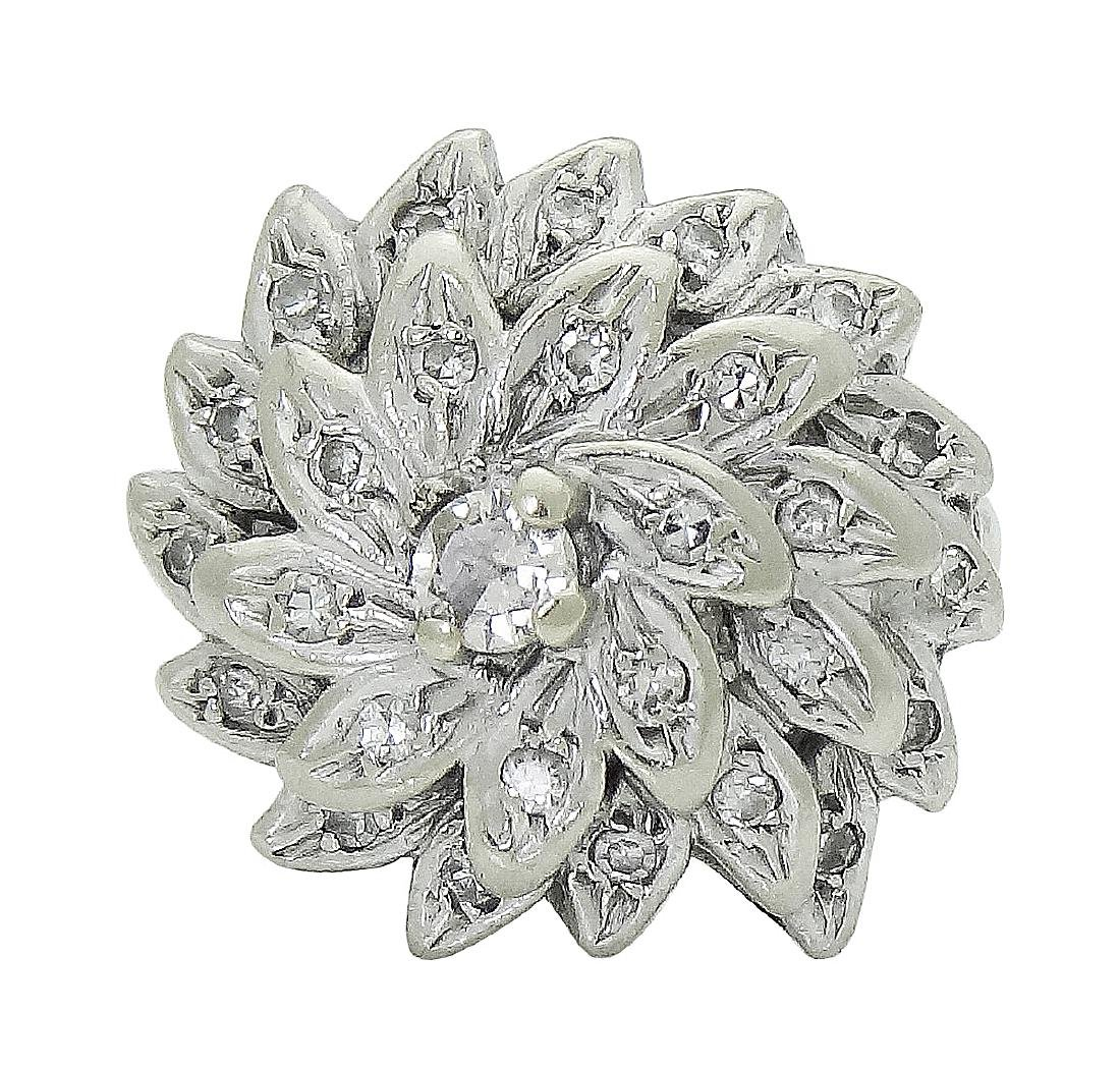 14K White Gold Diamond Flower Cocktail Ring