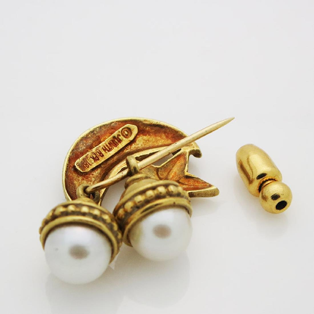 Judith Ripka 18K Yellow Gold Pearl Brooch/Pin