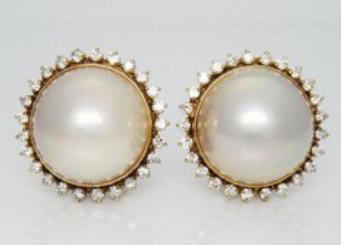 14K Y Gold with 16.3mm Mabe Pearl & Diamond Earrings
