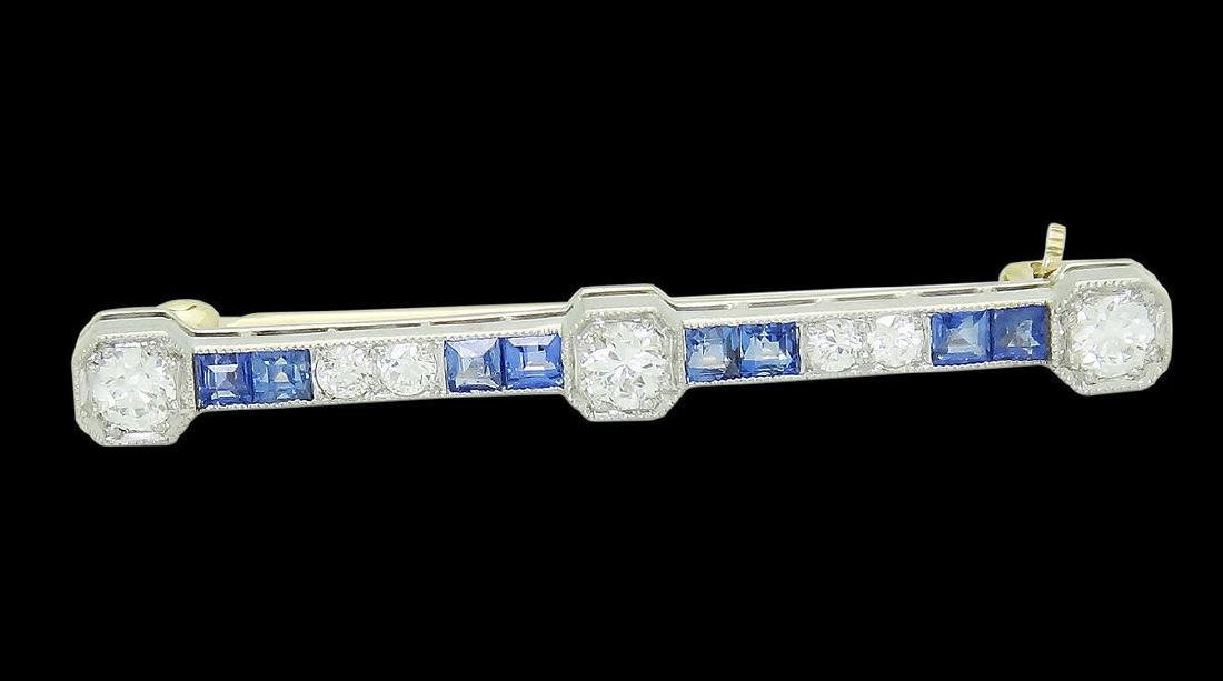 Antique Platinum 14k Gold Diamond & Blue Pin