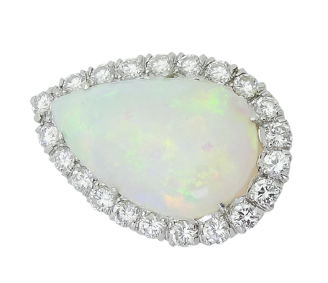 18K White Gold Opal & Diamond Pendant