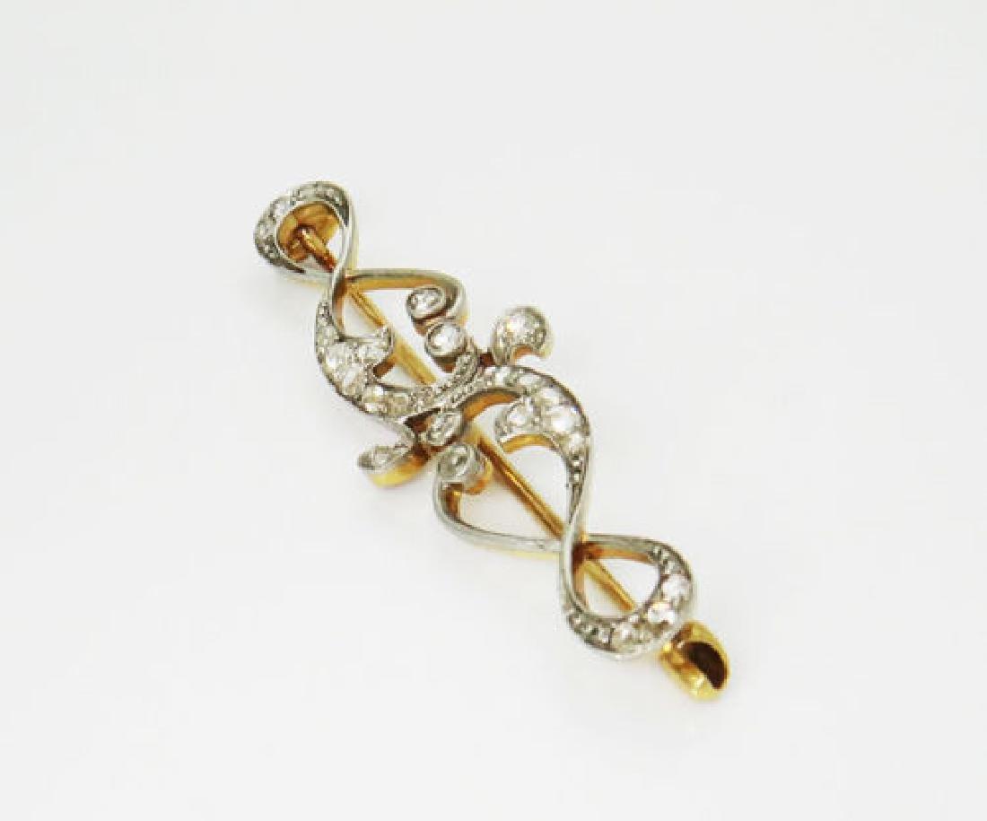 Antique 1880's Platinum & 14kt Gold 0.75 TCW Rose Pin