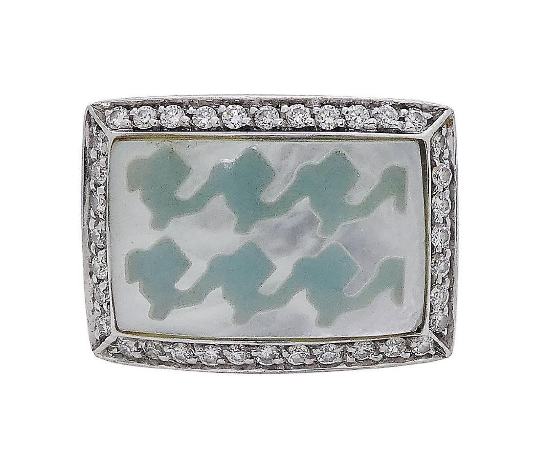 Roberto Coin 18k White Gold Diamonds MOP Ring