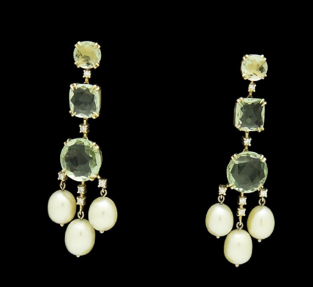 H.Stern 18k Prasiolite Pearl .32tcw Diamond Earrings