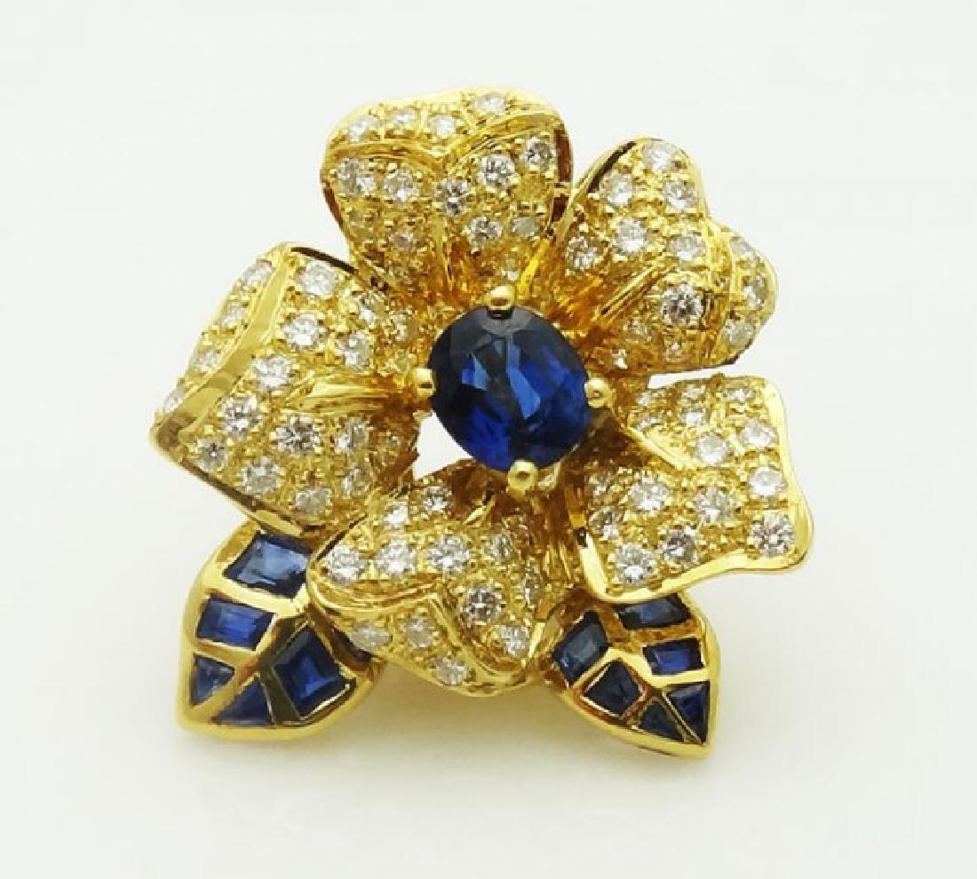 Le Vian 18K .37tcw Diamond Sapphire Flower Clip