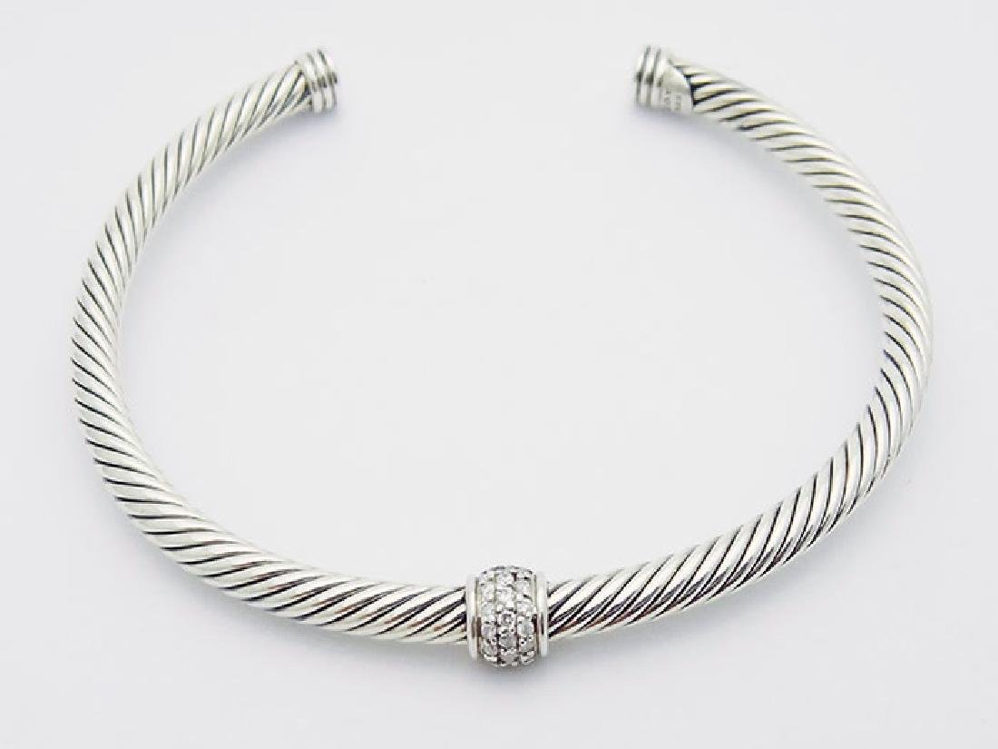 David Yurman 925 Silver Cable  4mm Bracelet & Diamond