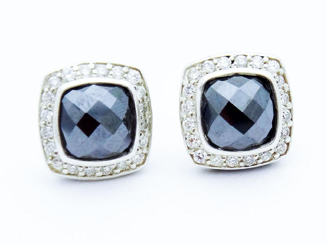 David Yurman Silver Albion Earrings Hematite & Diamonds