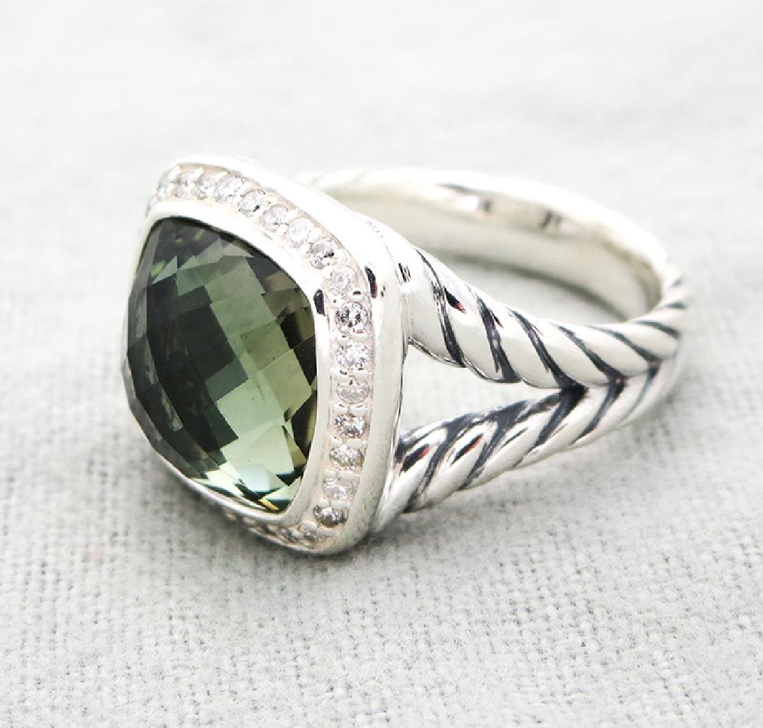 David Yurman Silver Ring with Prasiolite and Diamonds