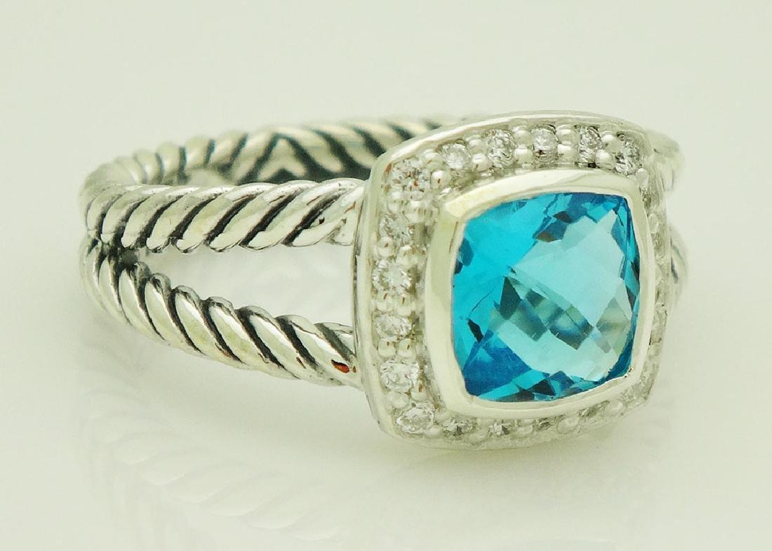 David Yurman Sterling Silver Petite Albion Blue Topaz