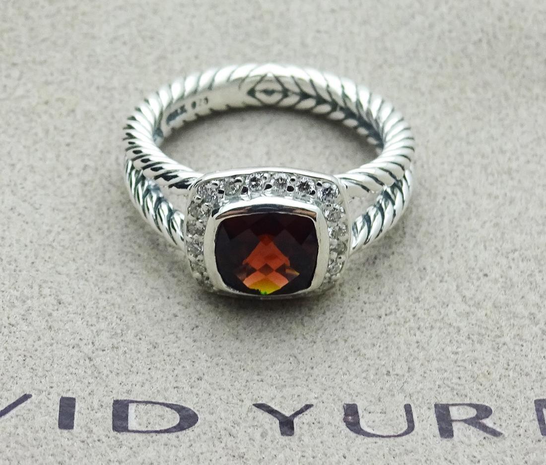 David Yurman Sterling Silver Petite Albion Garnet Ring