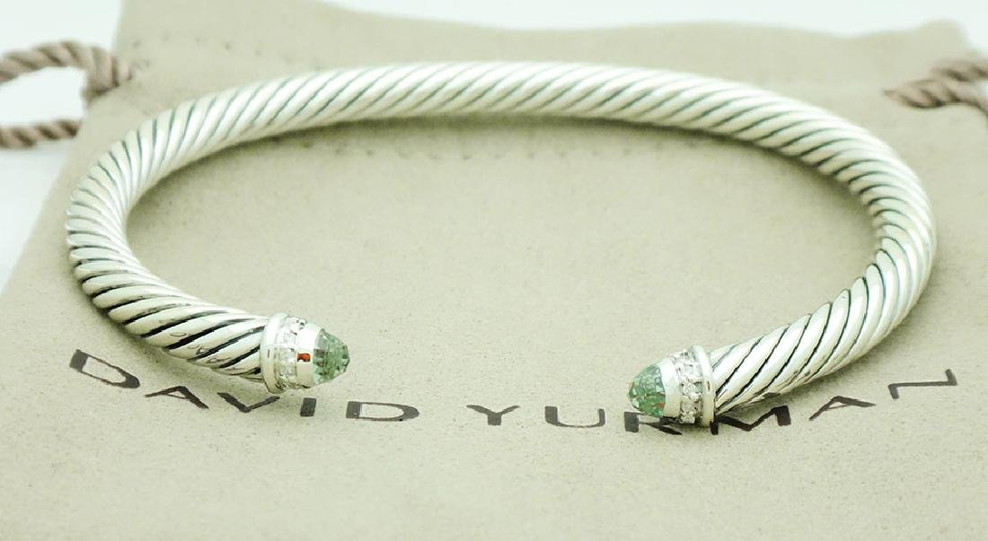 David Yurman Sterling 5mm Prasiolite & Diamonds