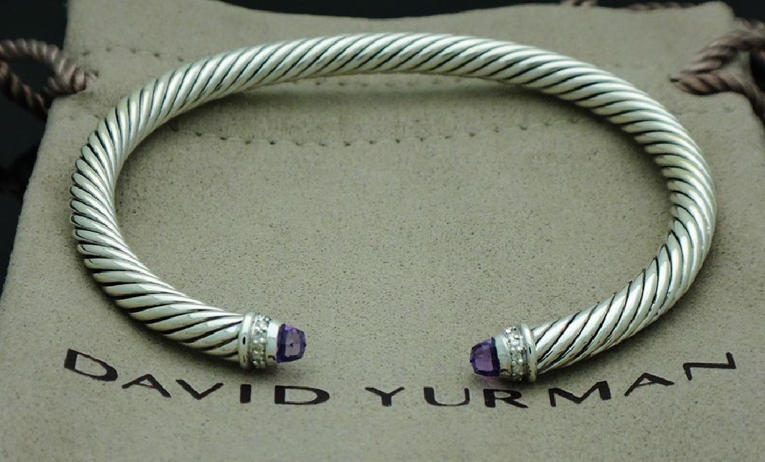 David Yurman Sterling 5mm Amethyst & Diamond Bracelet