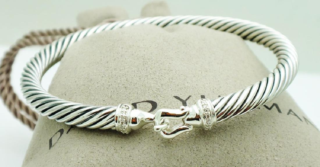 David Yurman Sterling  5mm Cable Diamond Bracelet