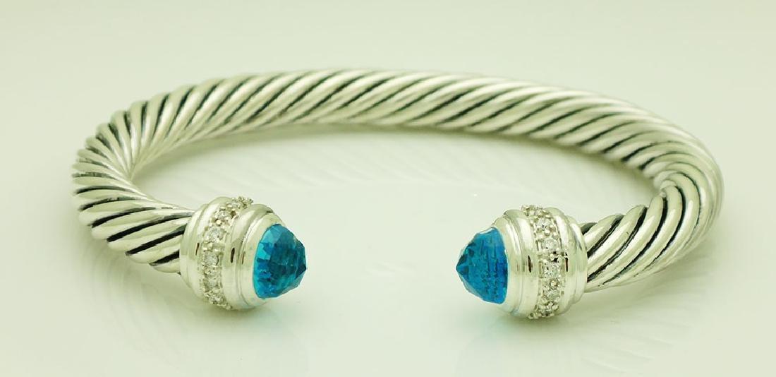 David Yurman Sterling 7mm Blue Topaz Diamond Bracelet