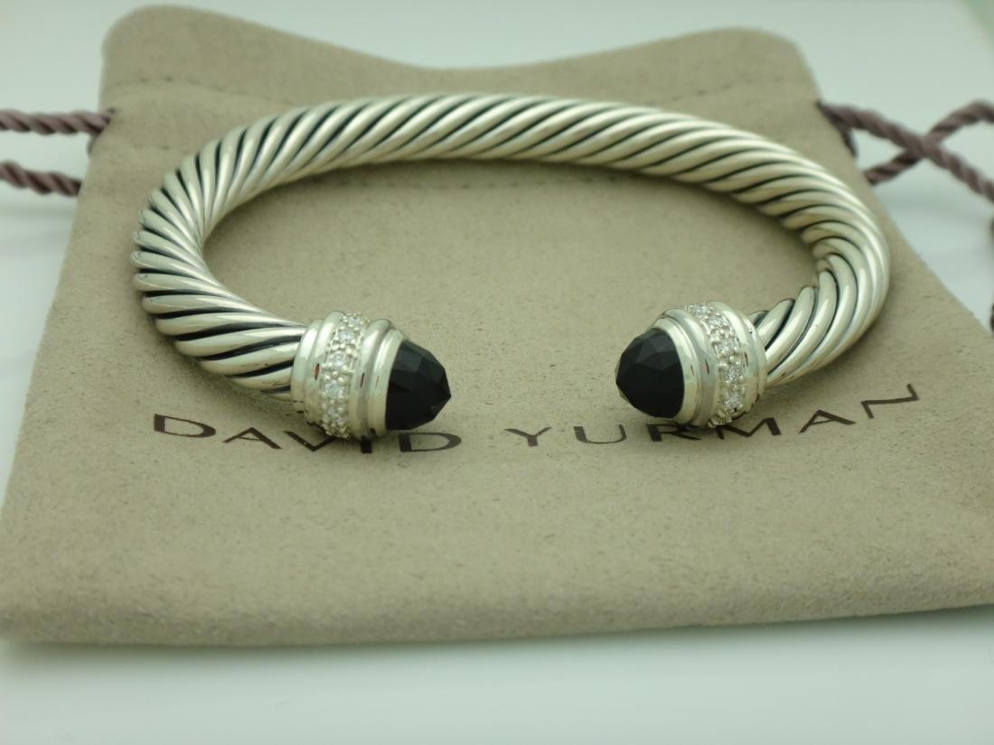 David Yurman Sterling 7mm Black Onyx & Diamond Bracelet